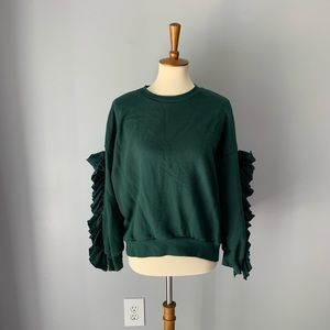 green ruffle sleeve sweatshirt